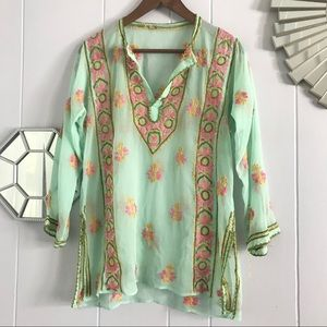 Sheer Mint Green Pink Embroidered Blouse M